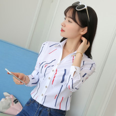 Ongkos Kirim Kemeja Wanita Lengan Pendek Panjang Bahan Sifon Motif Salur Pas Badan Gaya Korea Warna Putih Warna Bar Lengan Panjang Di Tiongkok