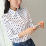 Beli Versi Korea Dari Sifon Slim Bottoming Kemeja Kerah Kemeja Bergaris Warna Di Tiongkok