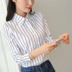 Harga Versi Korea Dari Sifon Slim Bottoming Kemeja Kerah Kemeja Bergaris Warna Fullset Murah