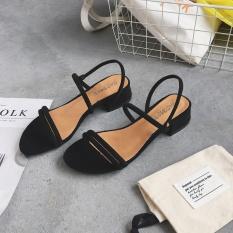 Diskon Sandal Summer Baru Dengan Sepatu Romawi Korea Fashion Style Perempuan Hitam Oem