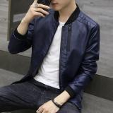 Toko Korea Fashion Style Siswa Slim Sepeda Motor Jaket Kulit Pria Kulit Kulit Biru Tua Yang Bisa Kredit