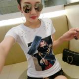 Promo T Shirt Korea Fashion Style Baru Atasan Modis Perempuan Lengan Pendek Putih