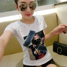 Ongkos Kirim T Shirt Korea Fashion Style Baru Atasan Modis Perempuan Lengan Pendek Putih Di Tiongkok