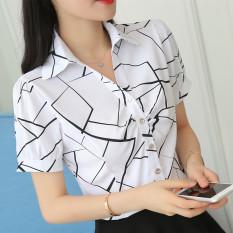 Promo Korea Fashion Style V Neck Yard Besar Lengan Pendek Kemeja Sifon Kemeja Putih Kekacauan Warna Kekacauan Warna Baju Wanita Baju Atasan Kemeja Wanita Tiongkok
