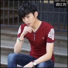 Versi Korea dari Leher-v Lengan Pendek Remaja Kaus (Anggur Merah) Baju Atasan Kaos Pria Kemeja Pria
