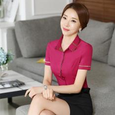 Versi Korea dari Wanita Kulit Putih Lengan Panjang Hotel Bottoming Kemeja Karir Kemeja (Mawar Merah) baju Wanita Baju Atasan Kemeja Wanita