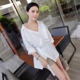 Beli Versi Korea Dari Wanita Kulit Putih Lengan Panjang Kemeja Longgar Putih Kredit