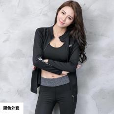 Harga Versi Korea Dari Wanita Slim Tipis T Shirt Pakaian Yoga Hitam Baru