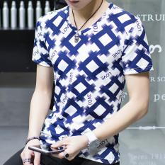 Versi Korea dari warna solid lengan pendek pria t-shirt Musim Panas pria (Cinta [Blue]) baju atasan kaos pria kemeja pria