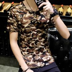 Harga Versi Korea Dari Warna Solid Lengan Pendek Pria T Shirt Musim Panas Pria Kamuflase Nada Bumi Oem Baru