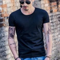 Harga Hemat Versi Korea Dari Warna Solid Lengan Pendek Pria T Shirt Musim Panas Pria Leher Bulat Warna Solid Hitam
