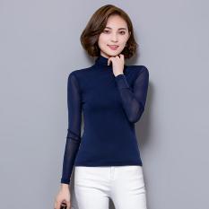 Toko Kaos Korea Fashion Style Warna Solid Musim Semi Baju Dalaman Sutra Es Biru Terdekat