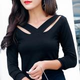 Beli Korea Fashion Style Katun Warna Solid Perempuan Atasan T Shirt Hitam Lengan Panjang Baju Wanita Baju Atasan Kemeja Wanita