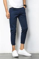 Toko Korean Style Solid Slim Fit Four Seasons Ankle Length Pants Men S Casual Pants Safir Biru Di Tiongkok