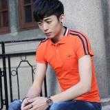 Harga Korea Fashion Style Warna Solid Slim Lengan Pendek Polo Kemeja Pria Lengan Pendek T Shirt Kerah Oranye Oranye Yang Murah Dan Bagus