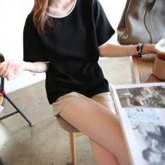 Harga Kaos Wanita Kasual Satu Warna Lengan Pendek Kerah Bulat Gaya Korea Hitam Baju Wanita Baju Atasan Kemeja Wanita Asli