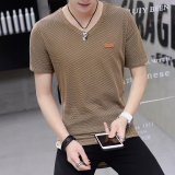 Beli Versi Korea Es Sutra Laki Laki Lengan Pendek V Neck Lengan Pendek Kemeja Kecil T Shirt Khaki Yang Bagus