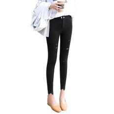 Versi Korea Hitam Perempuan Bagian Tipis Celana Regang Celana Bottoming Celana (Lubang