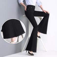 Cuci Gudang Longgar Korea Fashion Style Hitam Slim Terlihat Langsing Celana Cutbray Sedikit Mirip Terompet Jeans Elegan Hitam