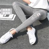 Jual Beli Versi Korea Hitam Perempuan Pakaian Luar Celana Panjang Legging Dicuci Abu Abu Banyak Lubang