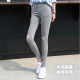 Jual Versi Korea Hitam Perempuan Pakaian Luar Celana Panjang Legging Dicuci Abu Abu Lubang Lutut Baju Wanita Celana Wanita Satu Set