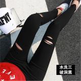 Toko Versi Korea Hitam Perempuan Pakaian Luar Celana Panjang Legging Dicuci Hitam Tiga Lubang Baju Wanita Celana Wanita Terdekat