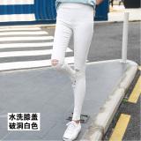 Review Versi Korea Hitam Perempuan Pakaian Luar Celana Panjang Legging Dicuci Lubang Lutut Putih
