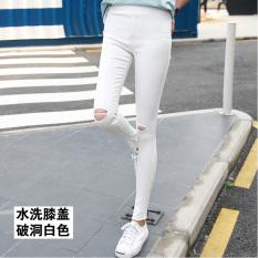 Diskon Versi Korea Hitam Perempuan Pakaian Luar Celana Panjang Legging Dicuci Lubang Lutut Putih Akhir Tahun