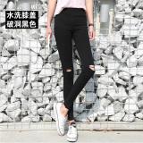 Review Legging Korea Fashion Style Musim Panas Celana Hitam Kaya Satin Lubang Hitam Di Lutut Tiongkok