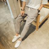 Versi Korea Kapas Slim Celana Kaki Celana Panjang Abu Abu Terang Tiongkok