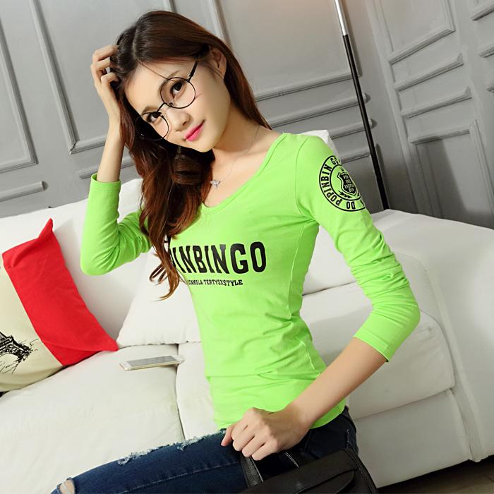 Gaya Korea katun murni Pakaian musim semi dan musim gugur baju kaos lengan panjang wanita Kerah
