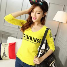 Beli Korea Fashion Style Kapas Perempuan Lengan Panjang T Shirt Bottoming Kemeja Kecil Kuning Kuning Oem Dengan Harga Terjangkau