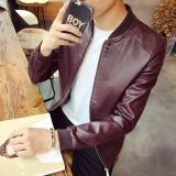 Harga Korea Fashion Style Slim Jenis Jeket Kulit Pria Baju Kulit Merah Tua Seken