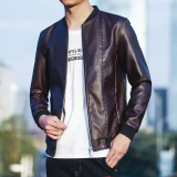 Penawaran Istimewa Versi Korea Laki Laki Slim Jaket Kulit Kulit Semi Dan Musim Gugur Merah Coklat Terbaru