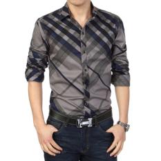 Kemeja Musim Semi Pria Kemeja Korea Fashion Style Laki-laki (108 jaringan biru) baju atasan kaos pria kemeja pria