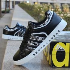 Spesifikasi Sepatu Sneakers Anak Muda Pria Tren Korea Dengan Sole Tinggi Hitam Hitam Dan Harga