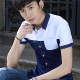 Versi Korea Muda Lengan Pendek Kemeja Pria Lengan Pendek Kemeja Patung Domain 325 Satu Putih Dan Biru Diskon Akhir Tahun