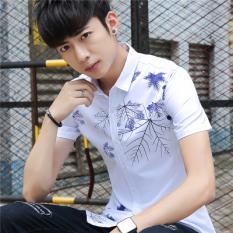 Promo Versi Korea Muda Lengan Pendek Kemeja Pria Lengan Pendek Kemeja Patung Domain 368 Putih Other Terbaru