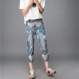 Beli Mm Korea Perempuan Tujuh Poin Celana Harem Longgar Celana Jeans Cahaya Biru Cahaya Biru Cicilan