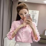 Spesifikasi Versi Korea Musim Panas Renda Manik Manik Renda Kemeja Merah Muda Baju Wanita Baju Atasan Kemeja Wanita Dan Harganya
