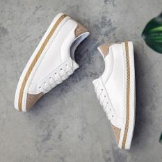 Review Korea Fashion Style Musim Semi Renda Sepatu Kets Putih Putih