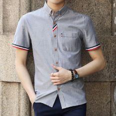Versi Korea musim panas Slim putih pria kemeja kasual pria kemeja (KB53 abu-abu) baju atasan kaos pria kemeja pria