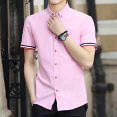 Versi Korea musim panas Slim putih pria kemeja kasual pria kemeja (KB53 merah muda) baju atasan kaos pria kemeja pria