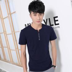 Tips Beli Versi Korea Musim Panas Yard Besar Lengan Pendek Putih Polos T Shirt T Shirt Biru Navy Yang Bagus