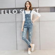 Review Pada Versi Korea Musim Semi Longgar Ukuran Besar Denim Overall Celana Panjang Cahaya Biru