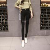 Beli Versi Korea Peregangan Tipis Pinggang Tinggi Pensil Celana Kaki Model Perempuan Legging Hitam Online Terpercaya