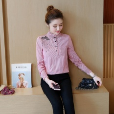 Beli Korea Fashion Style Ditambah Beludru Perempuan Lengan Panjang Bottoming Baju Kemeja Baju Kemeja Merah Terbaru