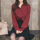 Promo Versi Korea Perempuan Lengan Panjang Baru Longgar Bottoming Kemeja Kemeja Putih Anggur Merah Di Tiongkok