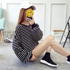 Beli Versi Korea Perempuan Lengan Panjang Baru Longgar Pullover Sweater T Shirt Hitam Baju Wanita Baju Atasan Kemeja Wanita Tiongkok