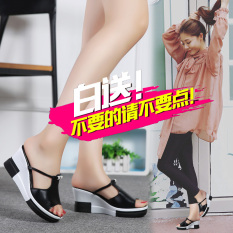 Jual Versi Korea Perempuan Luar Memakai Sandal Font Dan Sandal Kulit Sandal Hitam Online Tiongkok